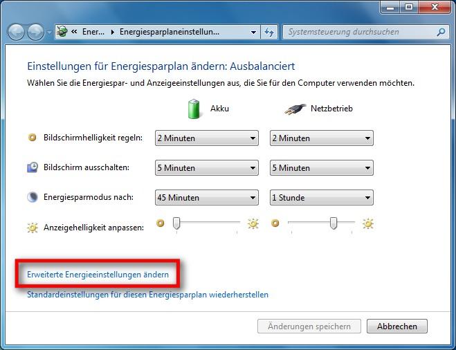 windows 7 energieoptionen